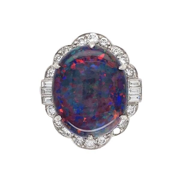 Closeup photo of Platinum 7.78ct Black Opal Art Deco Diamond Ring, s7