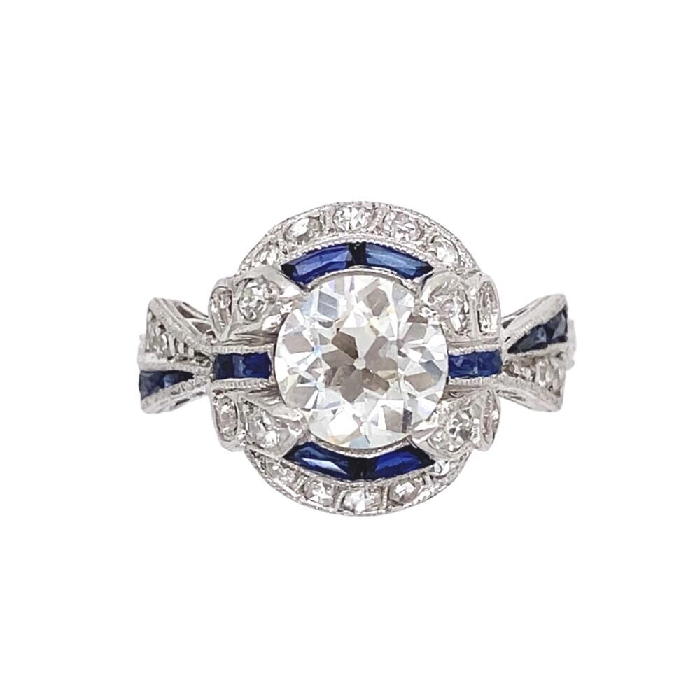 Art Deco Platinum 1.23ct Diamond & Sapphire Ring, s6.5