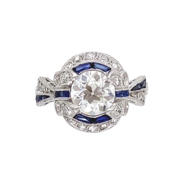 Closeup photo of Art Deco Platinum 1.23ct Diamond & Sapphire Ring, s6.5