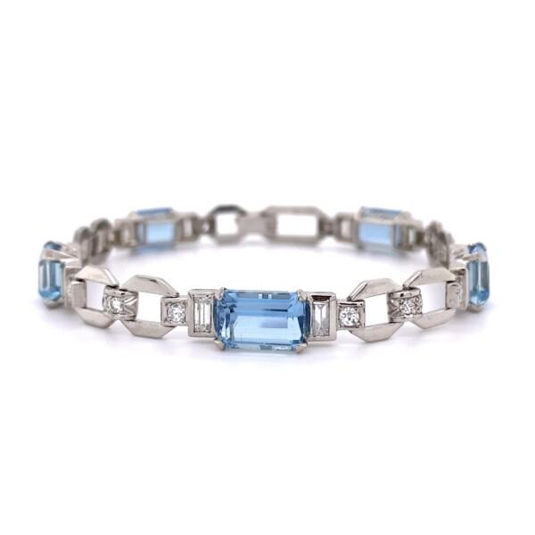 "Closeup photo of Art Deco 5 Aquamarine & Diamond Bracelet 21.5g, 7"""