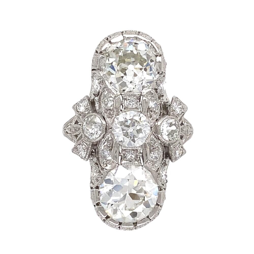 Platinum Art Deco 3.92tcw GIA 2 Stone Ring, s4