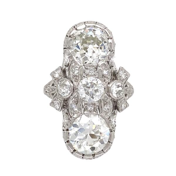 Closeup photo of Platinum Art Deco 3.92tcw GIA 2 Stone Ring, s4