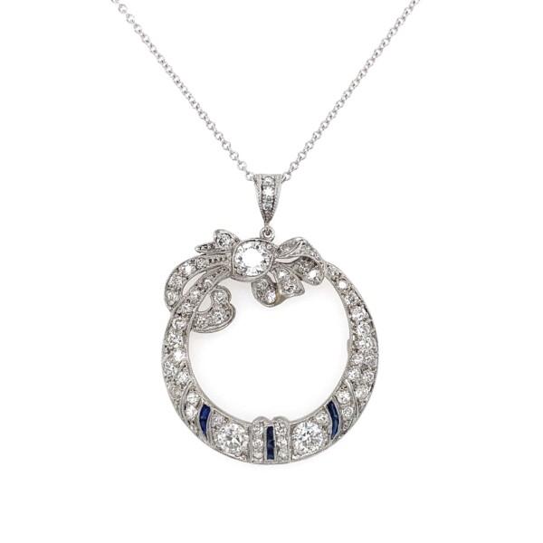 "Closeup photo of Art Deco Open Circle Diamond Bow Pendant 2.25tcw, 16"""