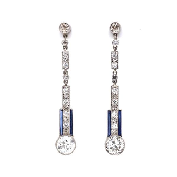 "Closeup photo of Art Deco 3.04tcw Diamond Drop Earrings in Platinum, 1.5"""