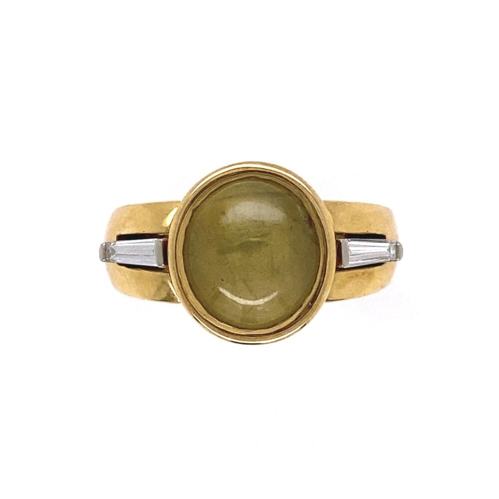 18K YG 4.5ct Cat's Eye & Diamond Baguette Ring 11.1g, s7.25