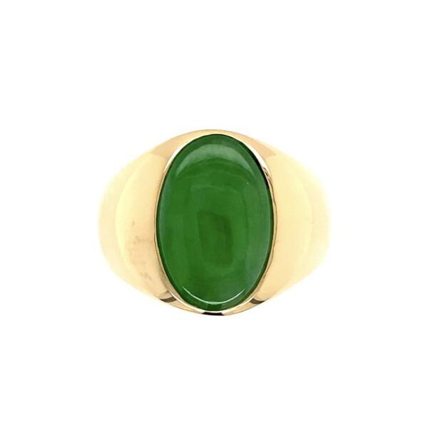 Closeup photo of 18K YG Mens Oval Jadeite Jade Cabochon Ring GIA 17.3g, s8.25