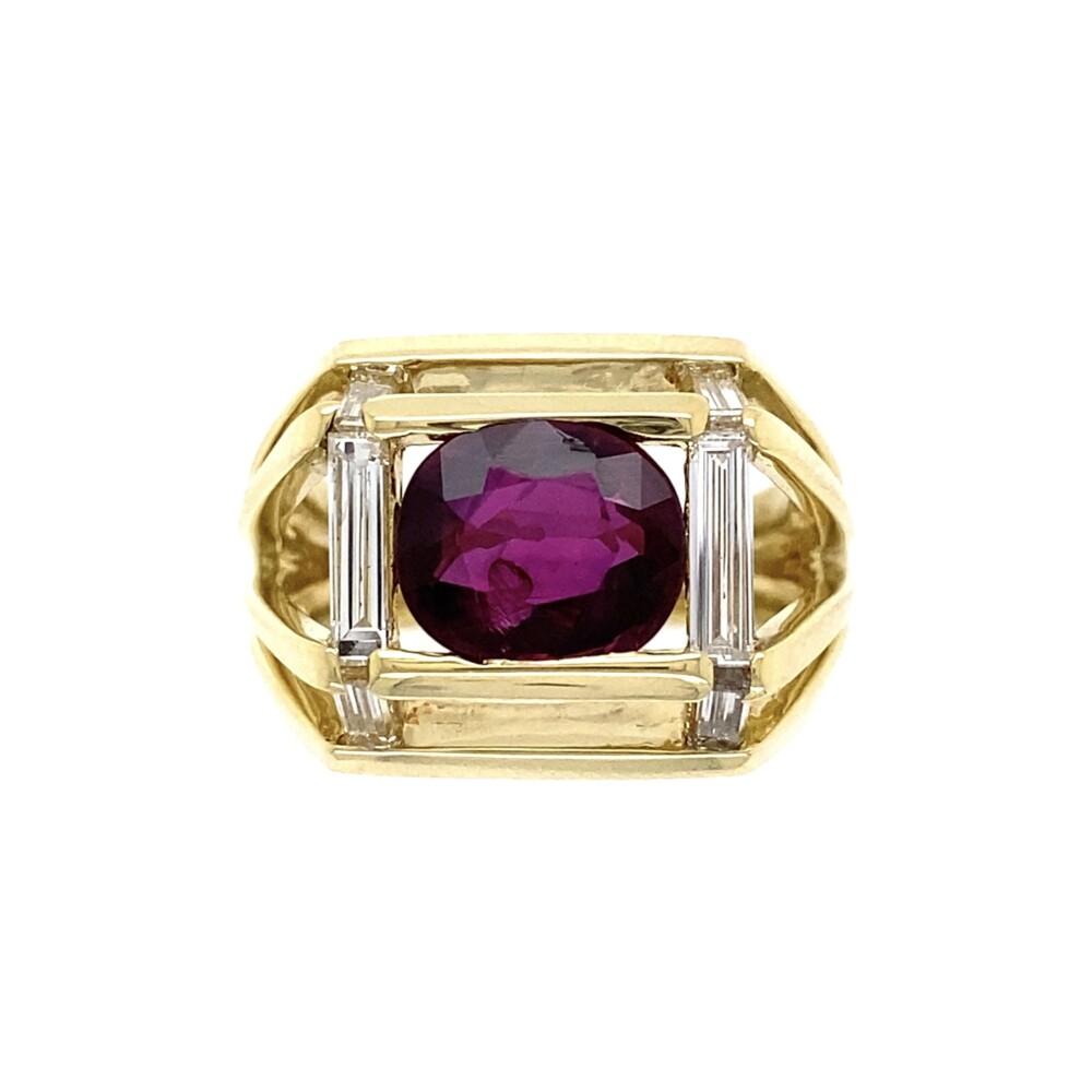 18K YG JOSE HESS 2.5ct Ruby & .40tcw Diamond Ring 12.9g GIA #6213498215