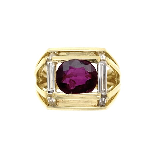 Closeup photo of 18K YG JOSE HESS 2.5ct NO HEAT Ruby & .40tcw Diamond Ring 12.9g GIA #6213498215