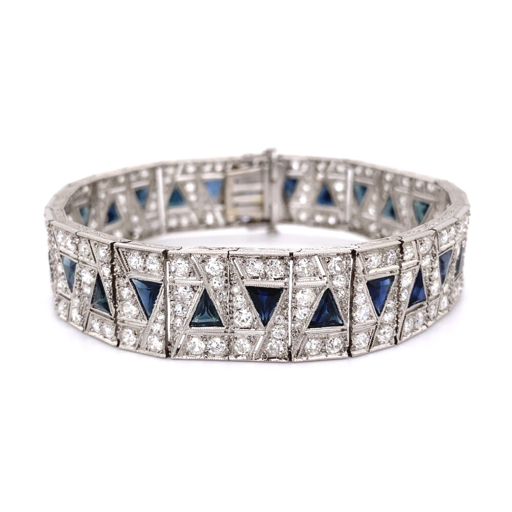 "Art Deco Wide 9.50tcw Diamond & Sapphire Bracelet 7.50"""