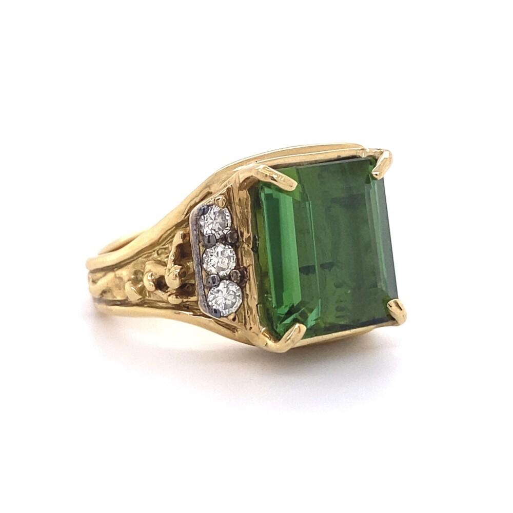 7.50ct Emerald Cut Green Tourmaline & Diamond Nugget Ring 13.3g, s6.5