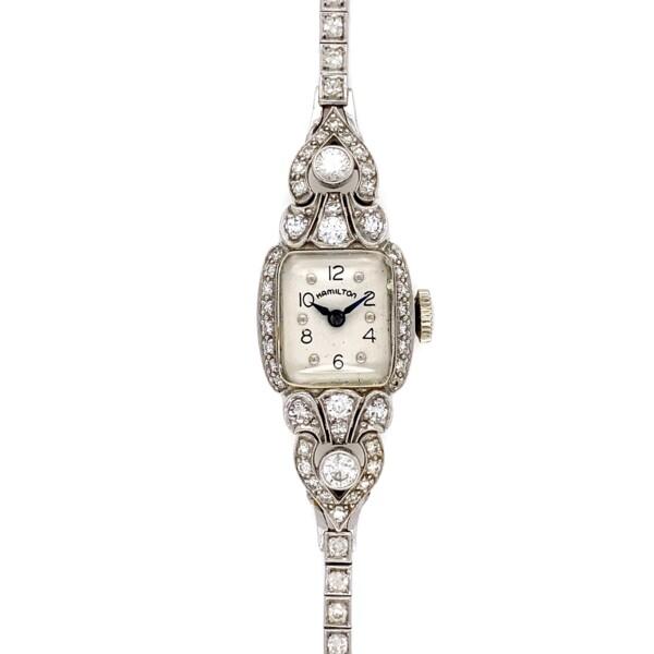 Closeup photo of Art Deco Hamilton Full Diamond Watch 22.0g, 2.00tcw