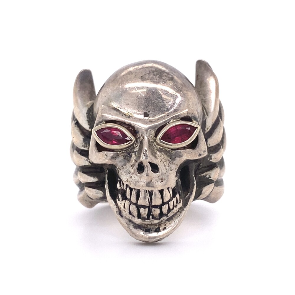 KING BABY 925 Sterling Skull Wings Ring with Red Eyes 40.1g, s10.5