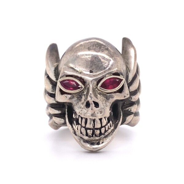 Closeup photo of KING BABY 925 Sterling Skull Wings Ring with Red Eyes 40.1g, s10.5