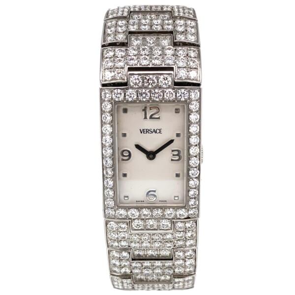 Closeup photo of 15.75tcw Diamond VERSACE Greca 990139 30MM Quartz Bracelet Watch 123.0g