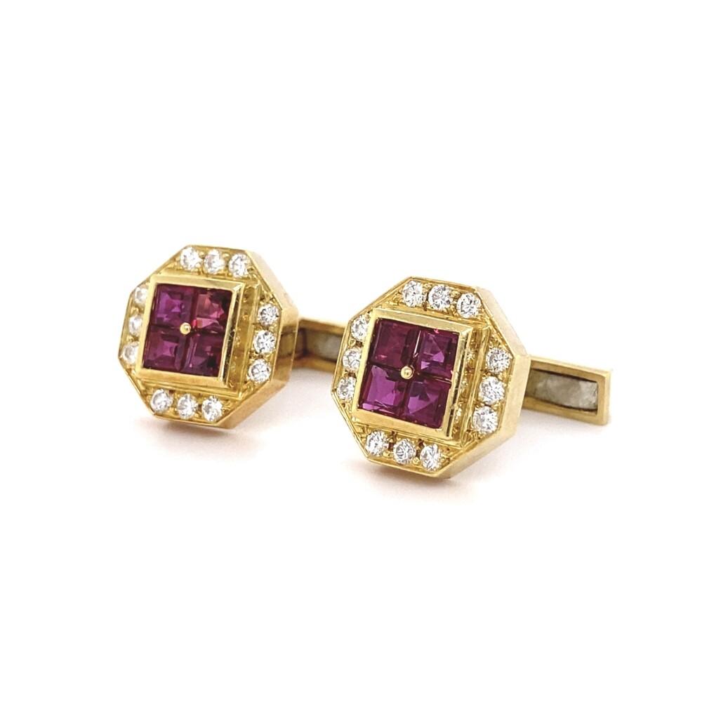 18K YG 1.60tcw Ruby & 1.00tcw Diamond Cufflinks 12.0g