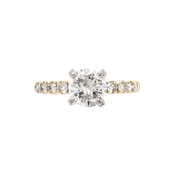 Closeup photo of .83ct Round Brilliant Diamond Solitaire &.48tcw Diamond Shank Ring 3.0g, s5