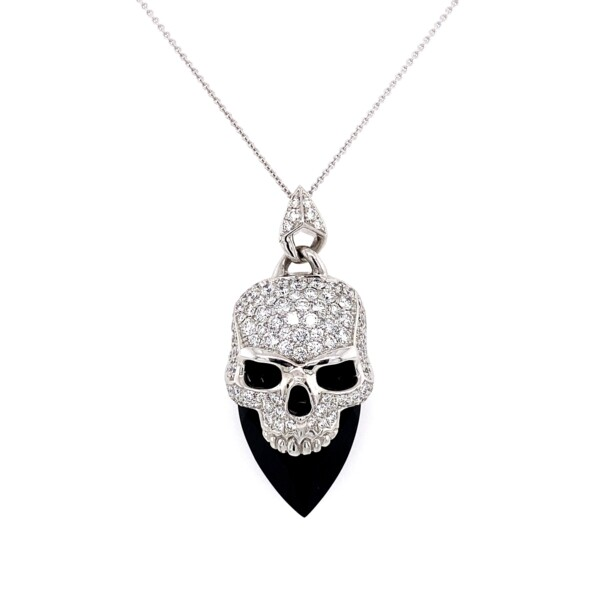 "Closeup photo of STEPHEN WEBSTER 2.50tcw Diamond Skull Onyx Pendant 14.1g, 18"""