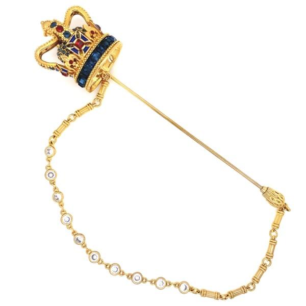 "Closeup photo of Dolce & Gabbana Ornate Crown Brooch 32.3g, 5"" Tall"