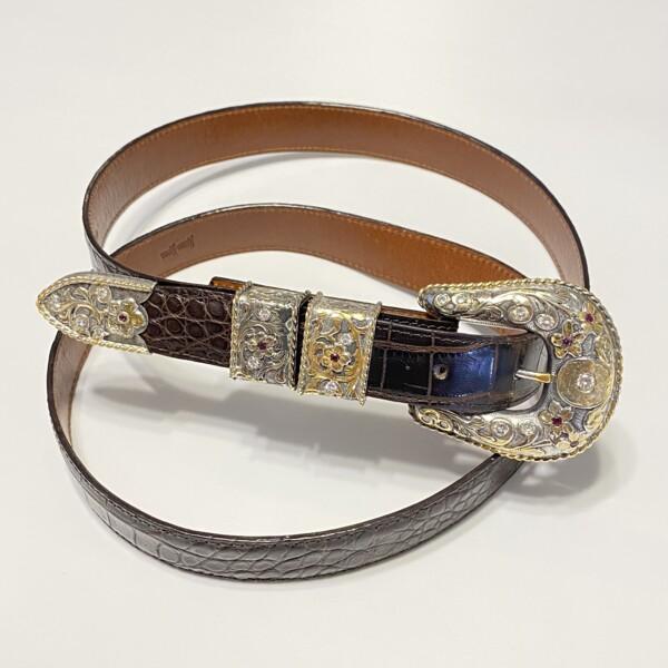 Closeup photo of Bohlin Custom Belt Buckle 925 & 18K 4.50tcw Diamonds & Rubies on Alligator Strap