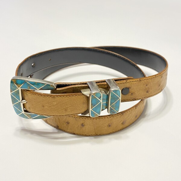 Closeup photo of Heartline 925 Sterling & Turquoise Inlay Belt Buckle