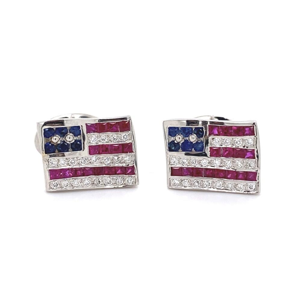 American Flag Cufflinks in 18K WG .40tcw DIamonds, .80tcw Sapphires & 1tcw Rubies 12.4g