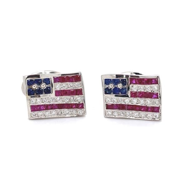 Closeup photo of American Flag Cufflinks in 18K WG .40tcw DIamonds, .80tcw Sapphires & 1tcw Rubies 12.4g