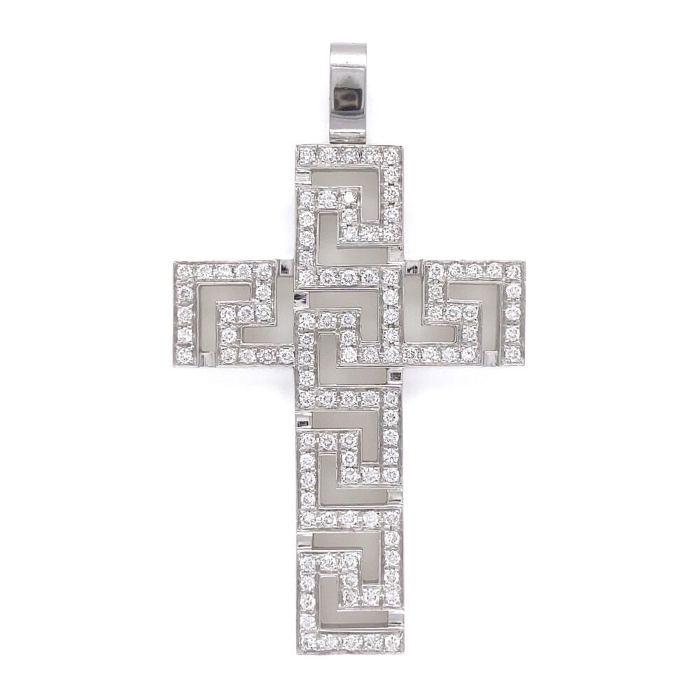 """VERSACE Pattern 2.10tcw Diamond Cross Pendant in 18K 18.4g, 2.5"""""""