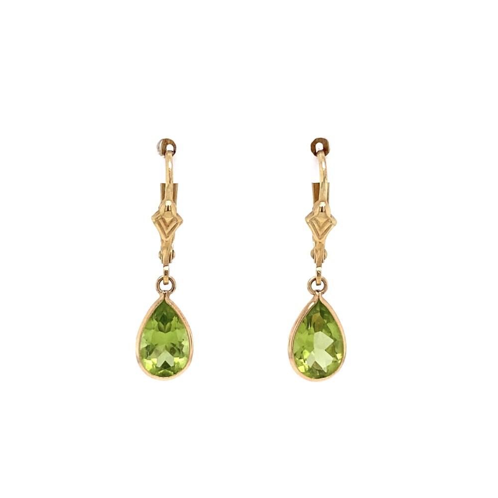 "Simple Pear Shape Peridot Drop Earrings 1.30tcw 1.6g, 1"" Tall"