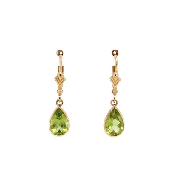 """Closeup photo of Simple Pear Shape Peridot Drop Earrings 1.30tcw 1.6g, 1"""" Tall"""