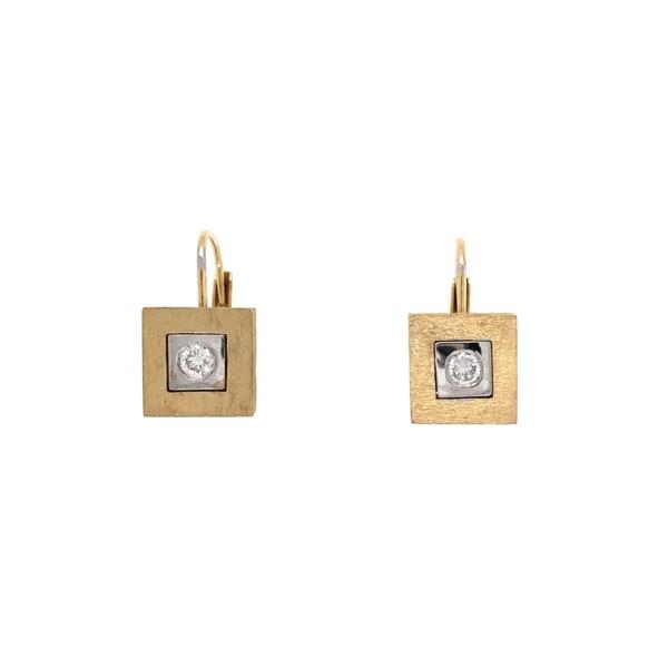 "Closeup photo of 14K 2tone .11tcw Diamond Drop Earrings 4.6g, .5"""
