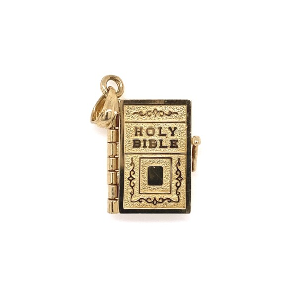 Closeup photo of 14K YG Openable Holy Bible Charm 3.3g, 1in Tall