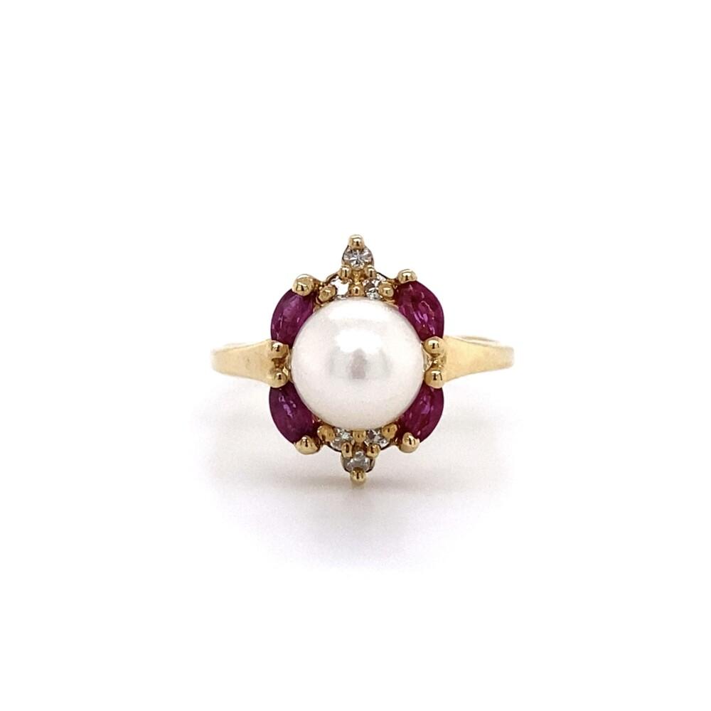 14K Akoya Pearl, Diamond & Ruby Ring 2.8g, s6