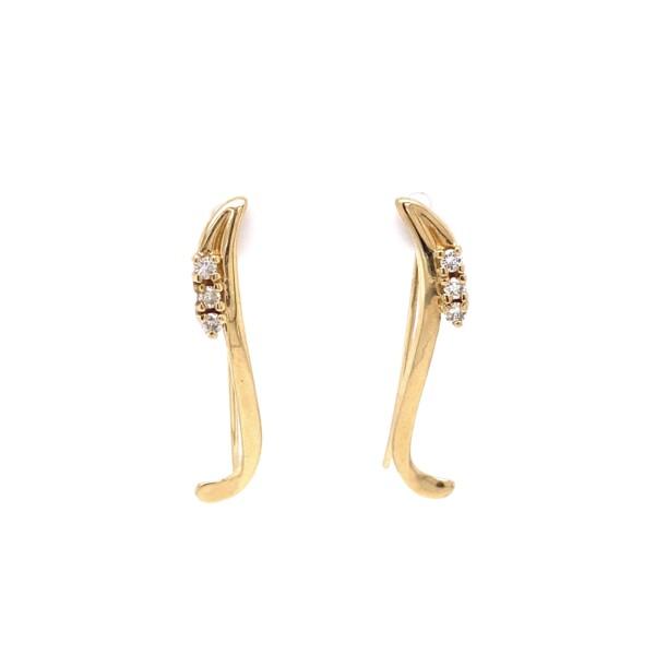 "Closeup photo of 14K YG Chili Pepper .12tcw Diamond Wire Earrings 2.6g, 1.2"""