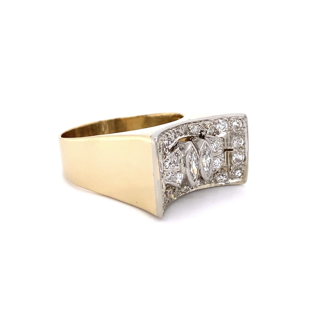14K YG 1.18tcw Cluster Diamond Saddle Ring 12.2g, s11.75
