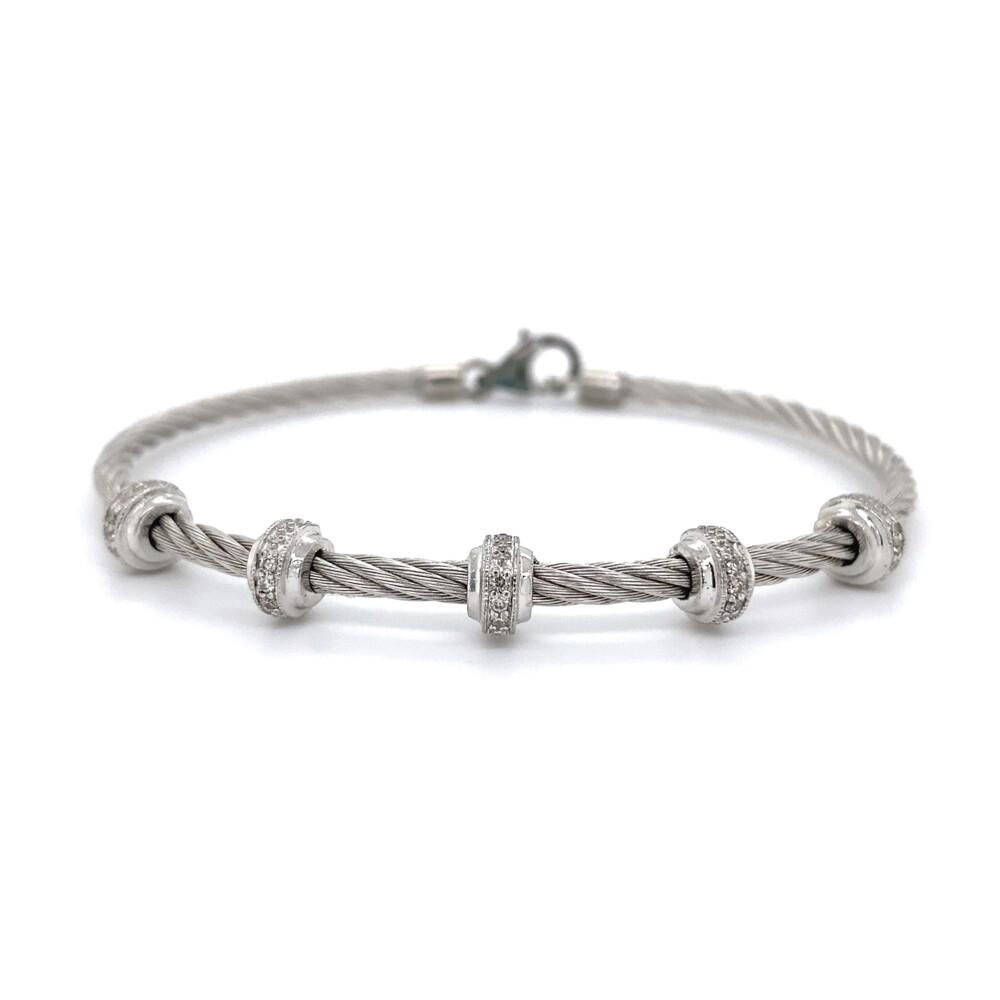 925 & Steel Gabriel & Co. .08tcw Diamond Bracelet