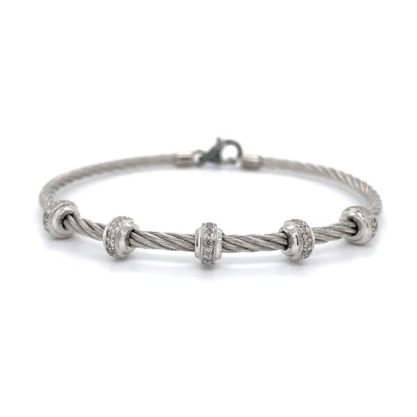 Closeup photo of 925 & Steel Gabriel & Co. .08tcw Diamond Bracelet