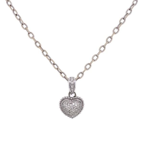"Closeup photo of 14K WG Pave Diamond Heart Pendant on Open Link Chain 12.1g, 15"""