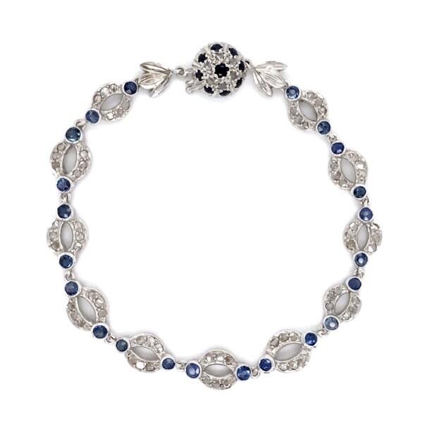 "Closeup photo of Vintage Platinum 4.25tcw Diamond & Sapphire Open Link Bracelet 12.0, 7.75"""