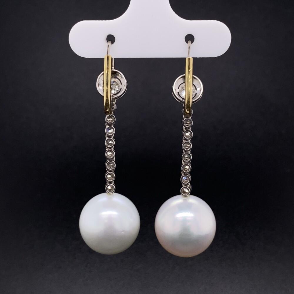 Platinum 14mm South Sea Pearl Drop Earrings 12.3g