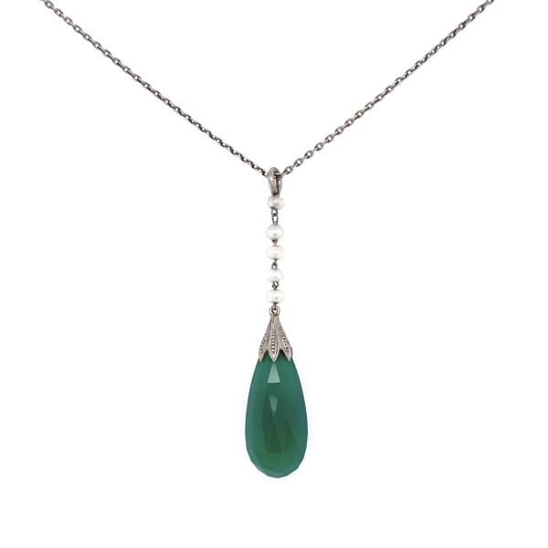 """Closeup photo of Platinum Chrysoprase Teardrop & Seed Pearl Necklace 4.5g, 14"""""""