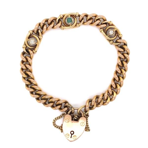 "Closeup photo of 9K Rose Victorian Lock Bracelet with Diamonds 29.2g, 7"""