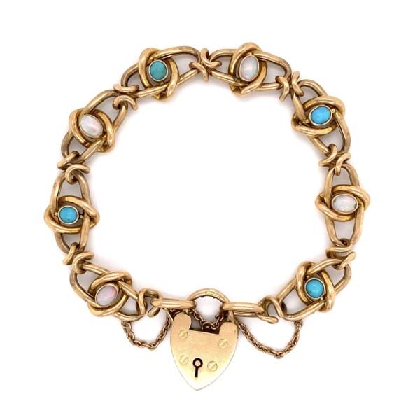 Closeup photo of 15K Rose Victorian Open Link Bracelet Turquoise & Opals 20.6g