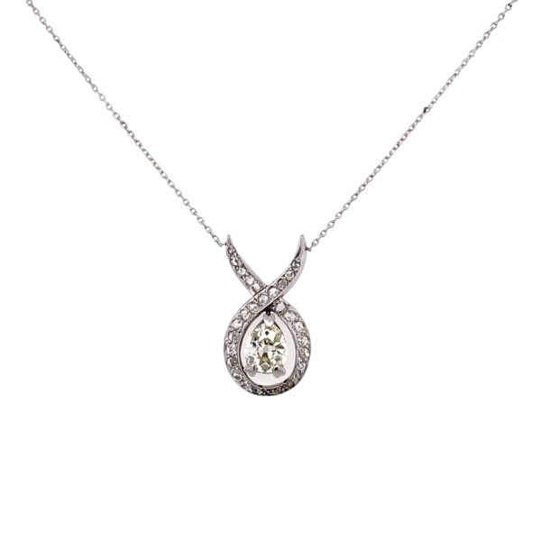 "Closeup photo of Platinum & 18K 1.28tcw Antique Pear Shape Diamond Pendant 3.1g, 18"""