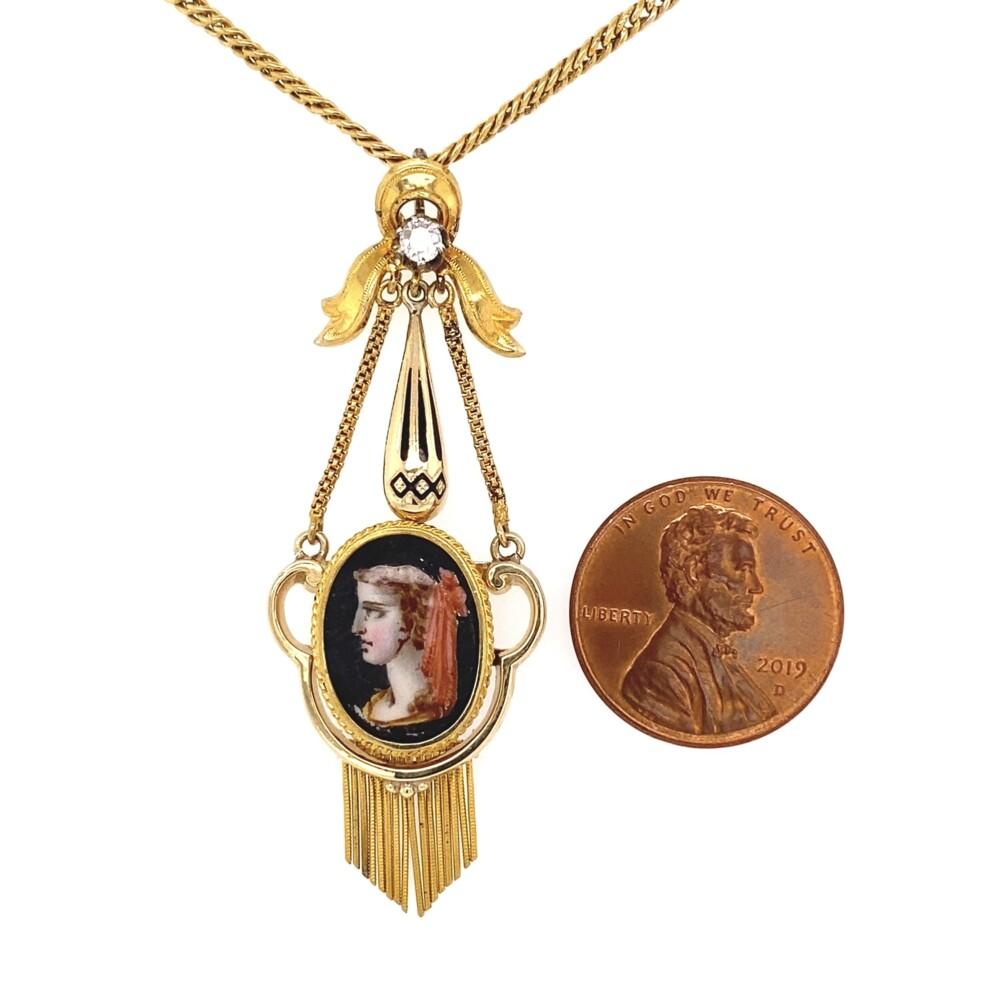 """Victorian Painted Portrait Diamond & Enamel Necklace 18K YG 9.8g, 18"""""""