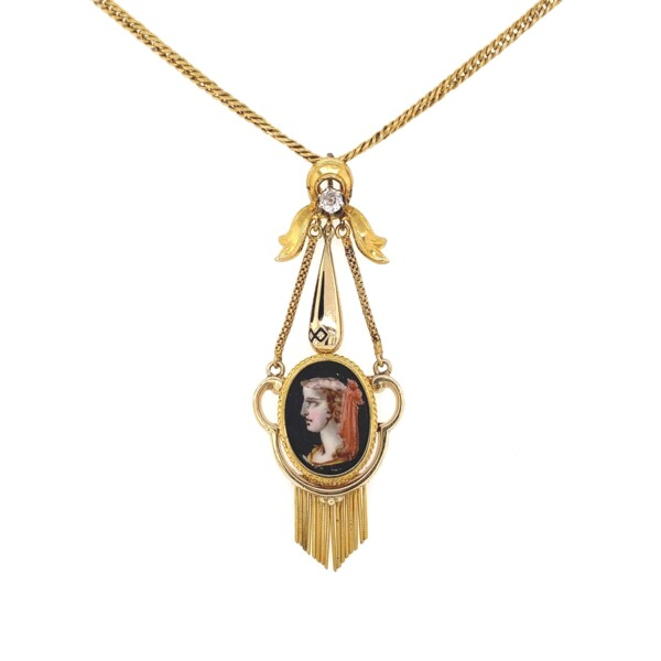 """Closeup photo of Victorian Painted Portrait Diamond & Enamel Necklace 18K YG 9.8g, 18"""""""