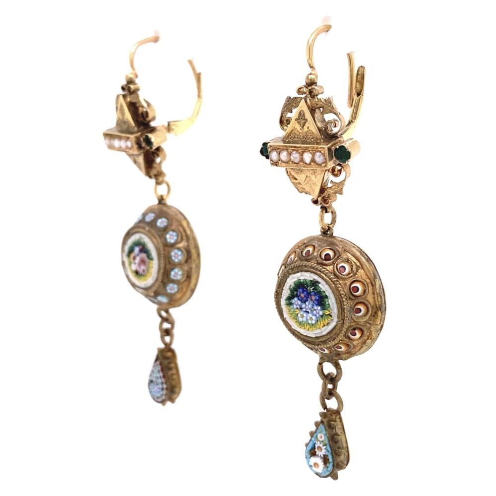 Antique Victorian Micro Mosaic Drop Earrings 15.3g in 14K YG