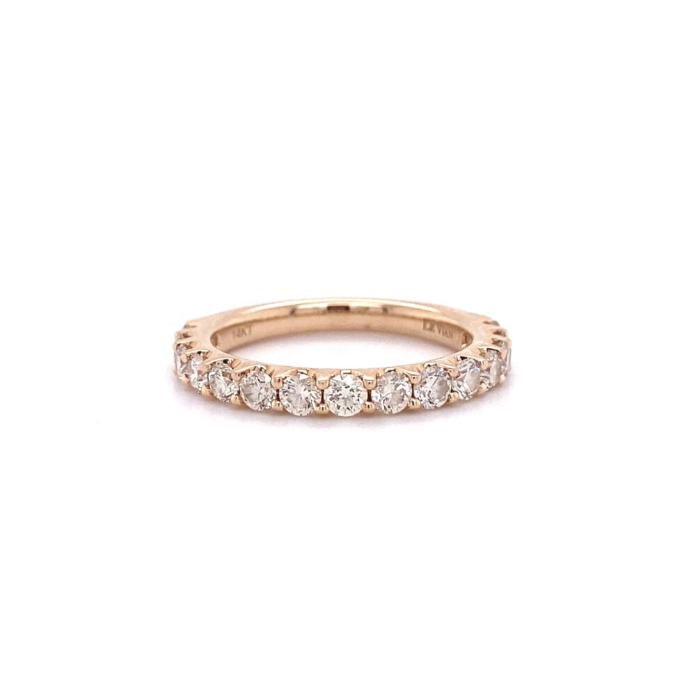 LeVian Rose Gold 1.05tcw Diamond 3/4 Band Ring 3.4g, s7