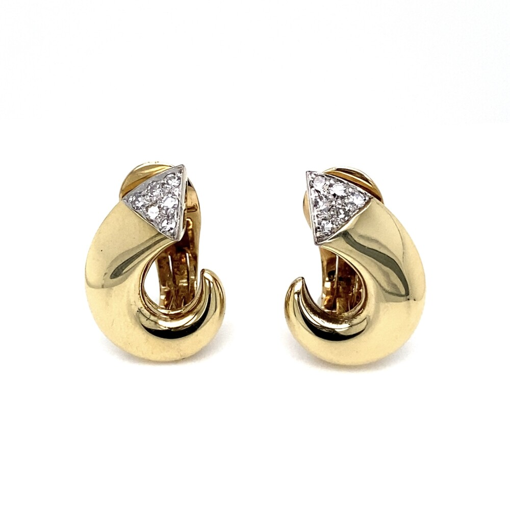 Retro 14K YG Open Circle .30tcw Diamond Earrings Clips 11.0g