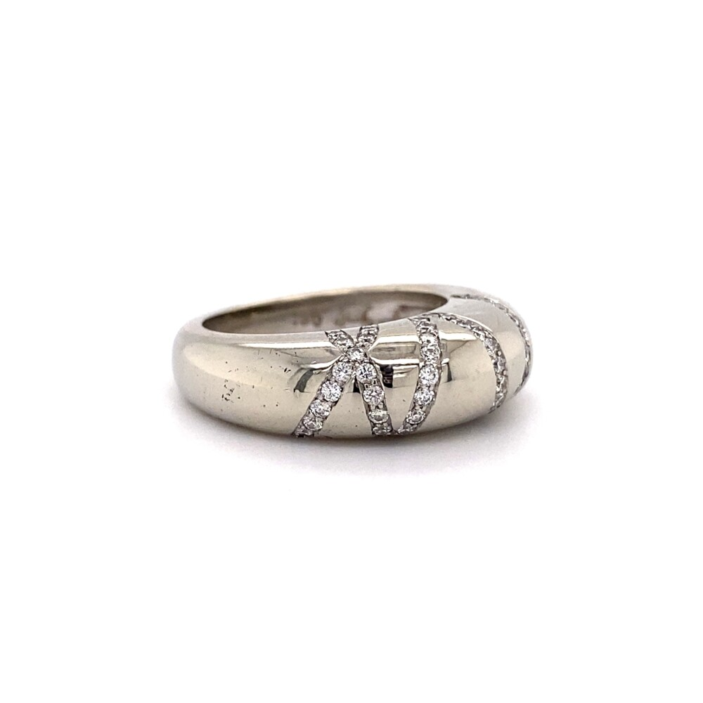 18K WG Dome Scattered .50tcw Diamond Band Ring 13.1g, s6