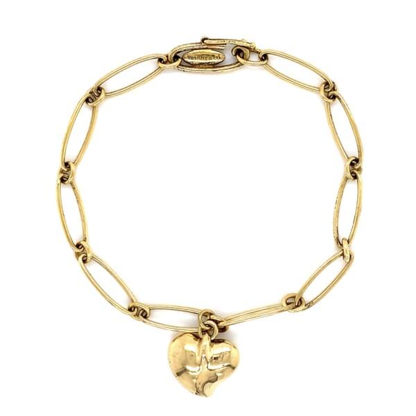 "Closeup photo of TIFFANY & CO 18K YG Elsa Peretti Heart Charm Bracelet 10.8g, 7"""